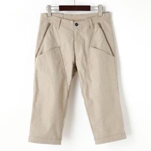 裾ベルト付クロップドパンツ 膝上ポケット サンドベージュ|waveone