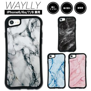 iPhone8 7 6s 6 ケース スマホケース 大理石 耐衝撃 シンプル おしゃれ くっつく ウェイリー WAYLLY _MK_|waylly