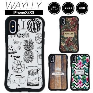 iPhone XS X ケース スマホケース トロピカル 耐衝撃 シンプル おしゃれ くっつく ウェイリー WAYLLY _MK_|waylly