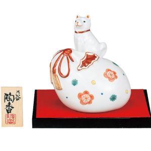 2018年 干支飾り 戌(いぬ) 花文 九谷焼 陶器 犬 置物|waza