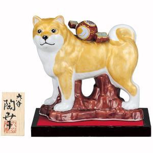 2018年 干支飾り 小槌のせ戌(いぬ) 金釉彩 九谷焼 陶器 犬 置物|waza
