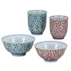 九谷焼 夫婦湯のみ 夫婦茶碗 ペアセット 花紋 還暦祝い 古希祝い ギフト|waza