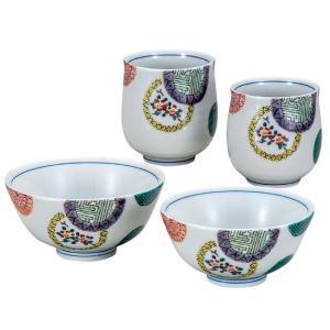 九谷焼 夫婦湯のみ 夫婦茶碗 ペアセット 色絵丸紋 還暦祝い 古希祝い ギフト|waza