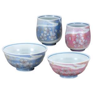 九谷焼 夫婦湯のみ 夫婦茶碗 ペアセット 花の舞 還暦祝い 喜寿祝い ギフト|waza