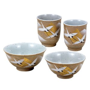 金婚式プレゼント 夫婦湯のみ 夫婦茶碗 ペアセット 金箔鶴|waza