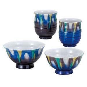 九谷焼 夫婦湯のみ 夫婦茶碗 ペアセット 釉彩 還暦祝い 古希祝い ギフト|waza