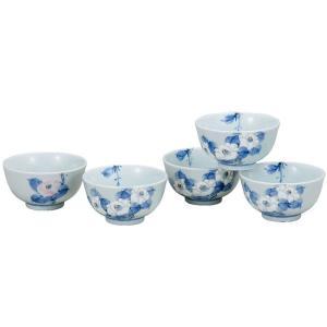 来客用 湯のみ5客セット 九谷焼 白椿 waza