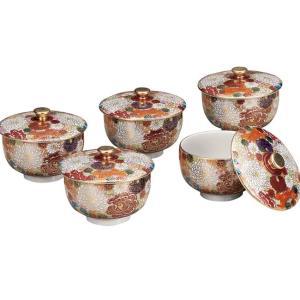 来客用 蓋付き 湯のみ5客セット 九谷焼 花詰|waza