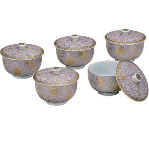 来客用 蓋付き 湯のみ5客セット 九谷焼 紫粒宝尽し|waza