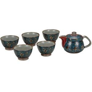 来客用 九谷焼 蓋付 茶器セット 青粒 waza