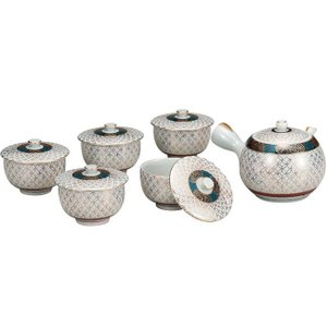 来客用 九谷焼 蓋付 茶器セット 金七宝|waza