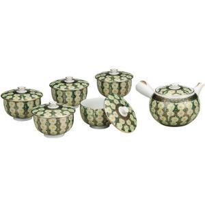 来客用 九谷焼 蓋付 茶器セット 菊詰 waza