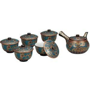 来客用 九谷焼 蓋付 茶器セット 青粒金唐草 waza