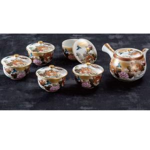 来客用 九谷焼 蓋付 茶器セット 本金花鳥 waza