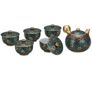 来客用 九谷焼 蓋付 茶器セット 青粒鉄仙 waza