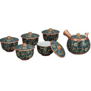 来客用 九谷焼 蓋付 茶器セット 本金青粒鉄仙 waza