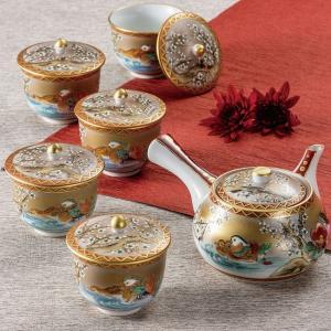 来客用 九谷焼 蓋付 茶器セット 本金おしどり waza