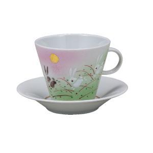 誕生日プレゼント 九谷焼 コーヒーカップ&ソーサー 跳ねうさぎ|waza