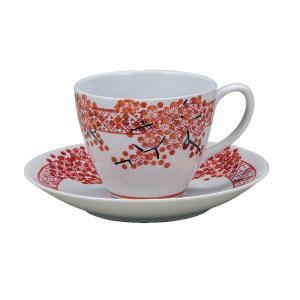誕生日プレゼント 九谷焼 コーヒーカップ&ソーサー 赤帯梅|waza