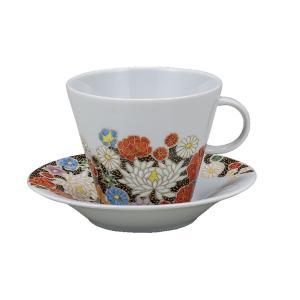 誕生日プレゼント 九谷焼 コーヒーカップ&ソーサー 花詰|waza