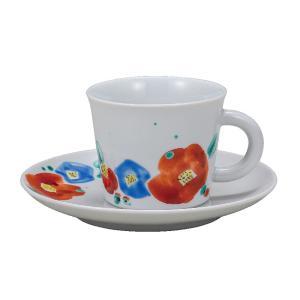 誕生日プレゼント 九谷焼 コーヒーカップ&ソーサー 魯山人写し椿|waza