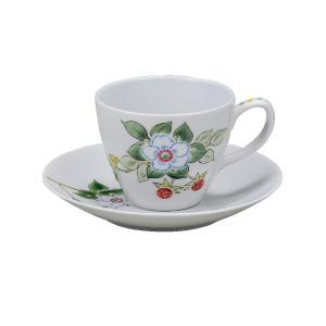 誕生日プレゼント 九谷焼 コーヒーカップ&ソーサー いちご|waza