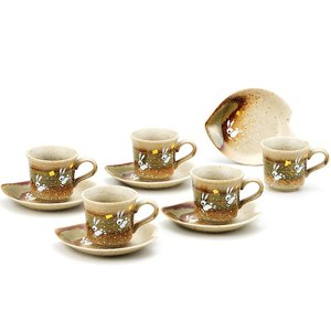九谷焼 コーヒーカップ&ソーサー 5客セット はねうさぎ|waza