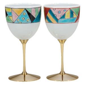 結婚祝いプレゼント 陶器 ペア ワイングラス ステンドグラス|waza