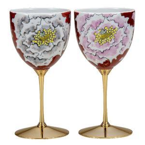 結婚祝いプレゼント 陶器 ペア ワイングラス 牡丹|waza