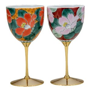 結婚祝いプレゼント 陶器 ペア ワイングラス 椿|waza