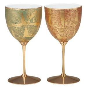 結婚祝いプレゼント 陶器 ペア ワイングラス 金箔彩|waza