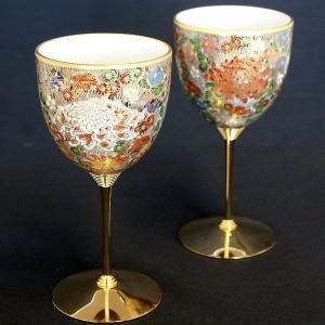 結婚祝いプレゼント 陶器 ペア ワイングラス 金花詰|waza