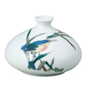 陶器 一輪挿し 九谷焼  かわせみ|waza