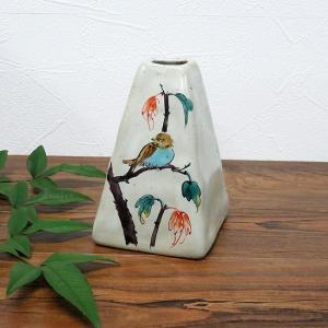 陶器 一輪挿し 九谷焼  スズメ|waza