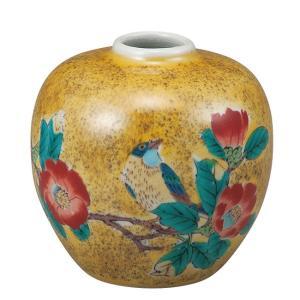 陶器 一輪挿し 九谷焼  吉田屋椿に鳥|waza