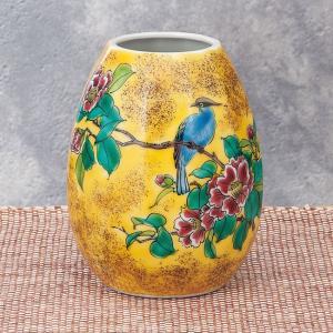 陶器 一輪挿し 九谷焼  吉田屋花鳥|waza