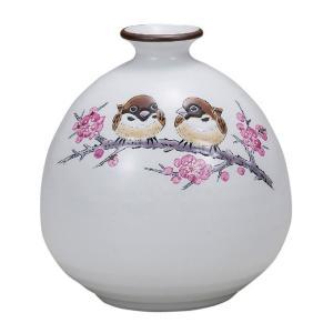 陶器 一輪挿し 九谷焼  すずめ|waza