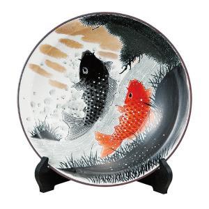九谷焼 10号 飾皿 鯉の滝登り waza