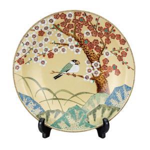 九谷焼 10号 飾皿 紅白梅 waza