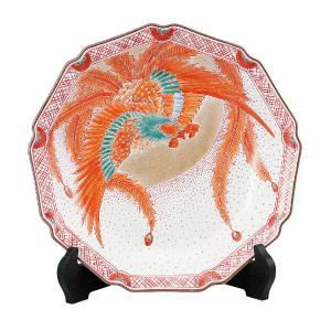 九谷焼 10号 飾皿 赤絵鳳凰 waza