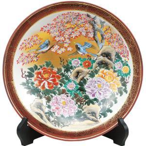 九谷焼 10号 飾皿 牡丹花鳥 waza