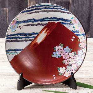九谷焼 10号 飾皿 赤富士 waza