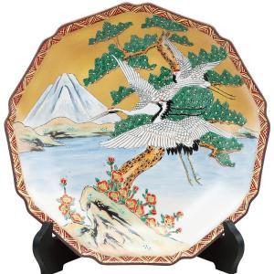九谷焼 10号 飾皿 富士に鶴 waza