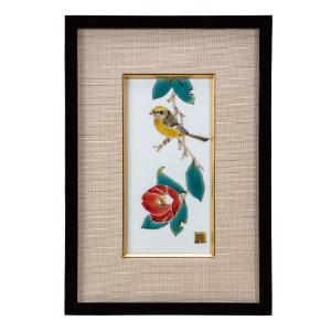 九谷焼 陶額 椿に鳥|waza