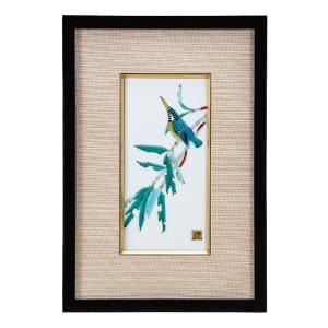 九谷焼 陶額 竹に翡翠|waza