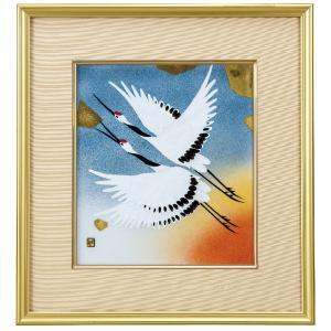 退職祝い 記念品 九谷焼 陶額 吉祥双鶴の図|waza