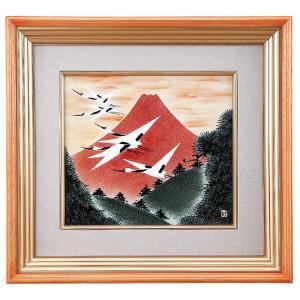 九谷焼 陶額 赤富士に鶴|waza