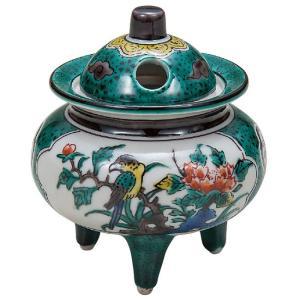 九谷焼 陶器 香炉 青九谷花鳥 waza