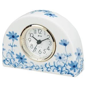 九谷焼 陶器 置時計 染付コスモス|waza