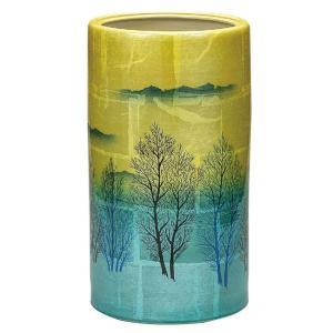 九谷焼 陶器 傘立て 銀彩木立|waza